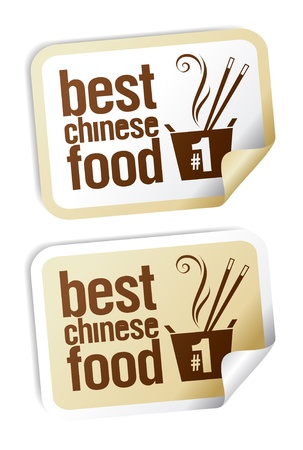 Best Chinese food stickers set. Vector
