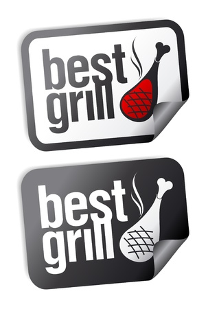 Best grill food stickers set. Stock Vector - 9059546