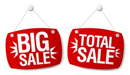 cheap prices: Total sale signs set.