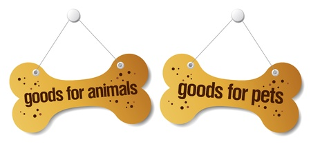 pet store: goods for pets signs set