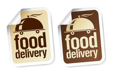 Voedsel levering stickers instellen. Vector Illustratie
