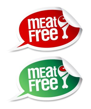 vlees: Vlees gratis stickers ingesteld in de vorm van spraak bubbels. Stock Illustratie
