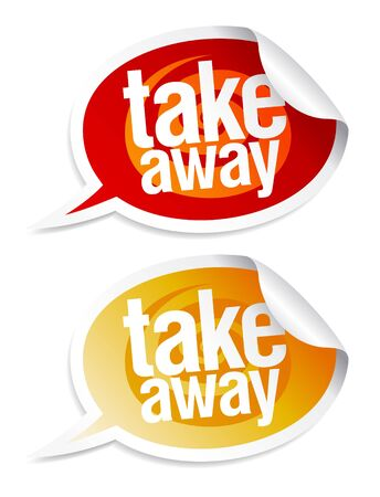 Take away stickers in form of speech bubbles. Vector