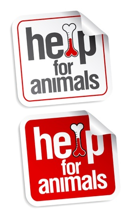 Help for animals, first aid stickers set. Stock Vector - 9059545