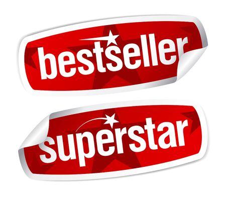 Bestseller and superstar stickers set. Vector