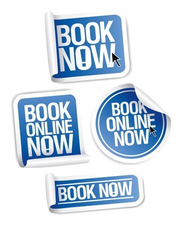 Book online now stickers set. Vector