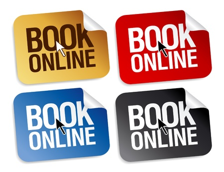 Book online stickers set. Vector