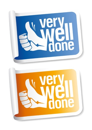 done: Well done stickers with hand thumbs up symbol.