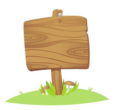pannello legno: tavola di legno su un erba