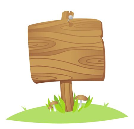 wooden board on a grass Vector