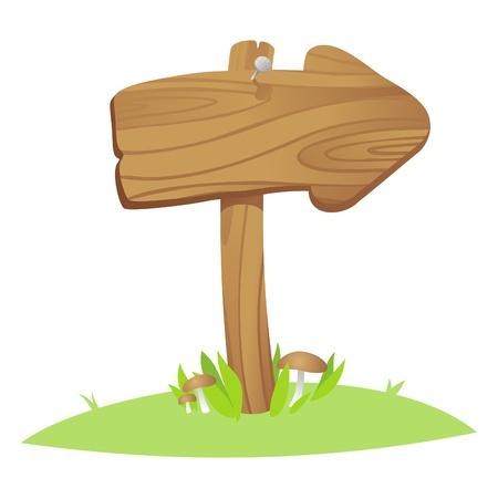 flecha direccion: Junta de madera puntero sobre una hierba.