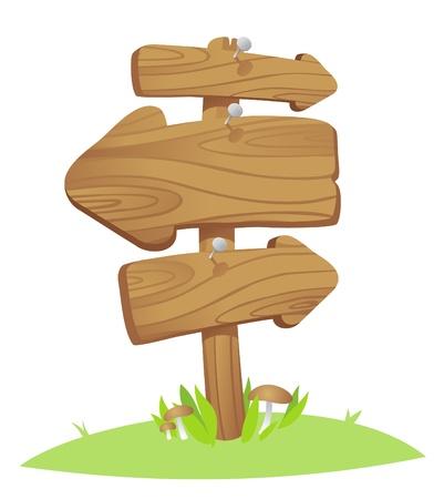 Schede di puntatore in legno su un erba. Vettoriali