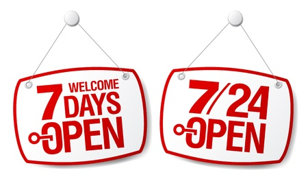 7 Days Open signs set Vector