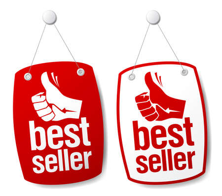 pricetag: Bestseller signs set. Illustration