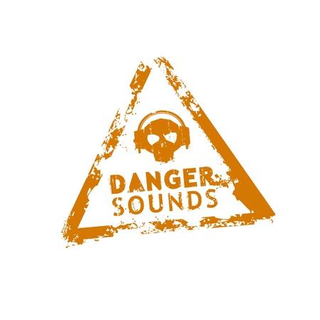 earbud: Sello de vectores de sonidos de peligro