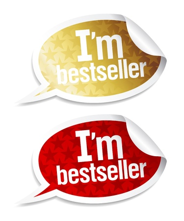 I`m bestseller stickers in form of speech bubbles.  Stock Vector - 9130945