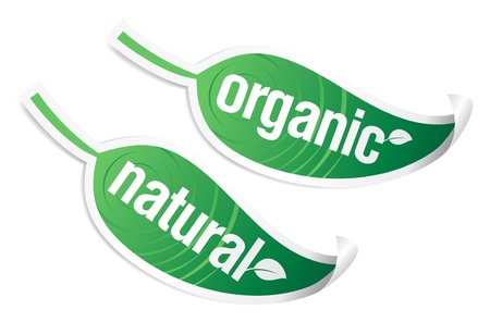 Natural and organic stickers. Stock Vector - 9130940