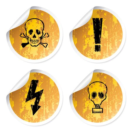 dangerously: Set of warnings stickers, dangerously for life.