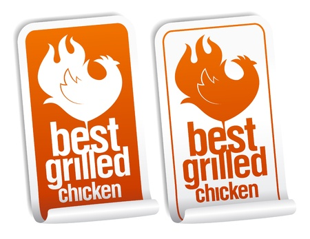 fried chicken wings: Best grilled chicken stickers set. Illustration