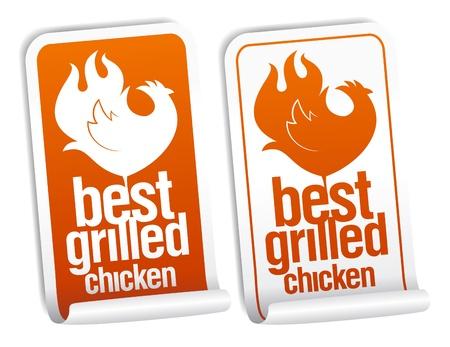 Establecen mejores pegatinas de pollo a la parrilla. Ilustración de vector