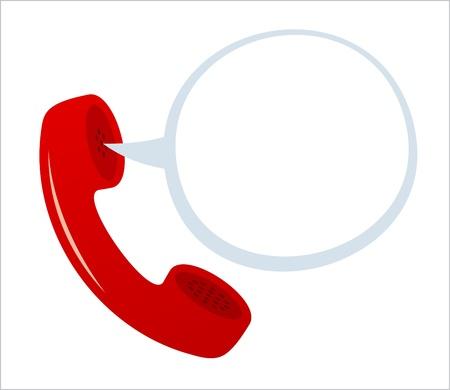 calling: Icono de tel�fono con globo de discurso. Vectores