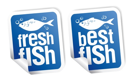 Best fish stickers set Stock Vector - 9171358