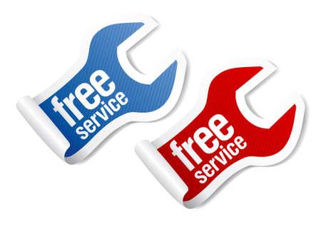 gratis service garanderen stickers in de vorm van moersleutel Vector Illustratie
