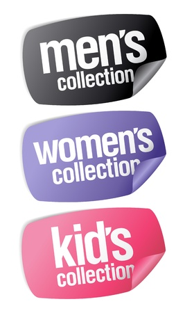 identify: Men`s, women`s and kid`s collection stickers set