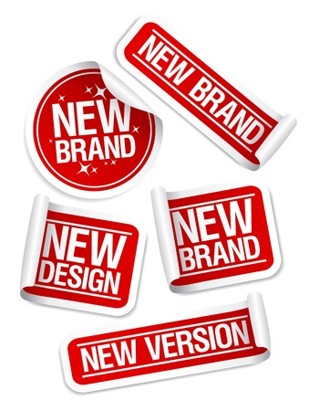 new products: New Brand, Design, Version stickers set.