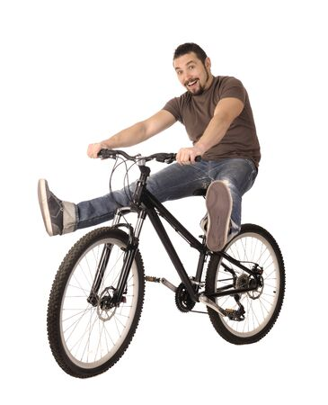 rapidity: The bicyclist isolated on white, studio shot.