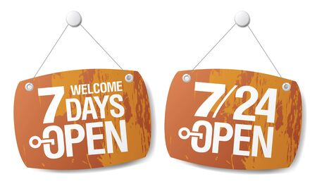 screw key: 7 Days Open signs set
