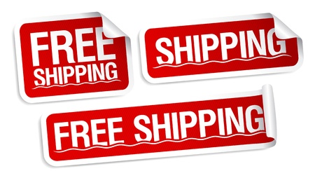 Free shipping stickers set. Stock Vector - 9258040