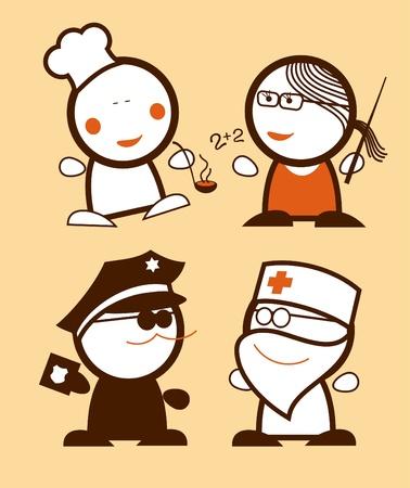 medico caricatura: Conjunto de iconos de pueblos divertido de la profesi�n. Vectores