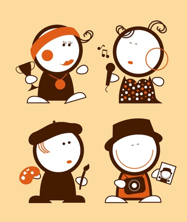 Set of profession funny peoples icons. Vector
