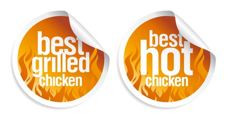 Best hot chicken stickers set. Vector