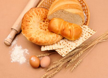 international bakery with wheat ears and eggs photo