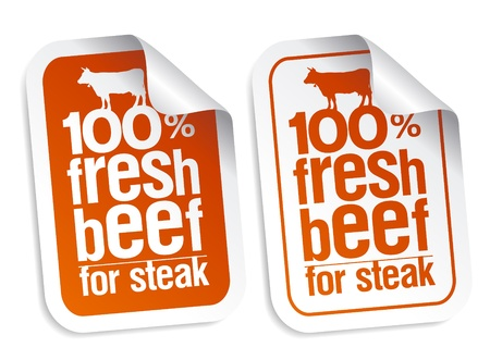 raw meat: Fresh beef for steak stickers set