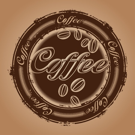 coffee beans: rubber stamp with coffee beans Illustration