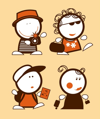 Set of tourist funny peoples icons. Vector