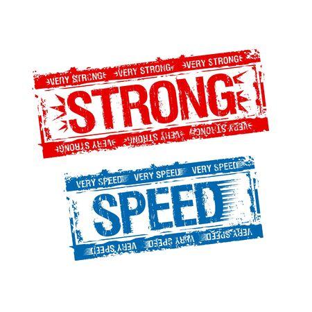 Strong and speed rubber stamps. Vektoros illusztráció
