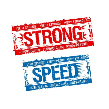 Strong and speed rubber stamps. Stock Vector - 9291441