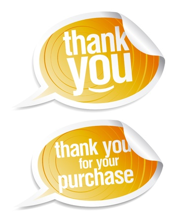 Thank you grateful stickers in form of speech bubbles.  Vector