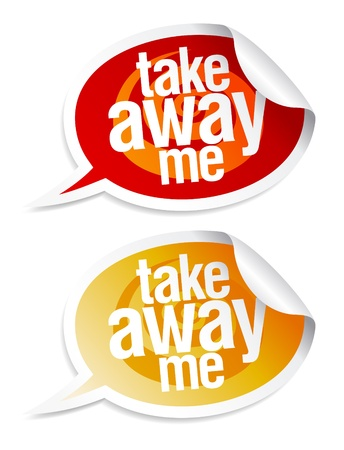 Take away me stickers in form of speech bubbles. Stock Photo - 9314757