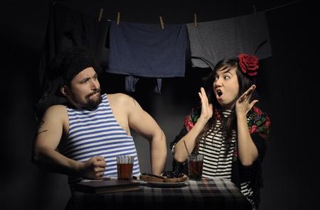 banter: Fun angry couple, retro rural imitation.