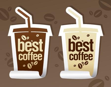 demitasse: Adesivi di caff� migliore in forma di take away Coppa. Vettoriali