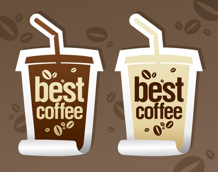 visz: Best coffee stickers in form of take away cup. Illusztráció