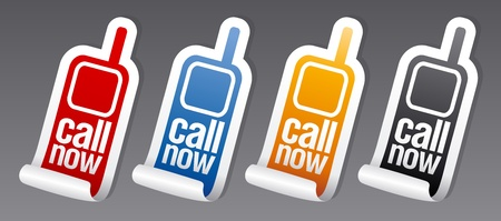 Call now stickers set. Vector