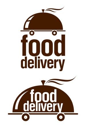 negocios comida: Conjunto de signos de entrega de alimentos.