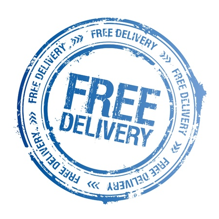 paper delivery person: Free delivery vector stamp.