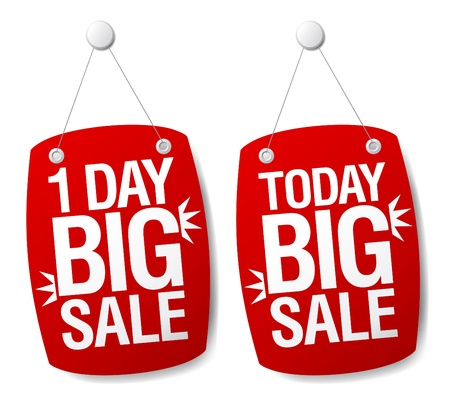 One Day Sale signs set. Vector
